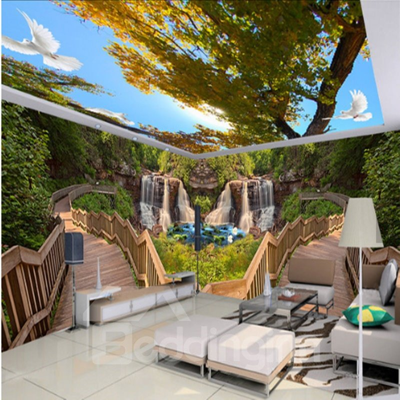 Wooden Bridge in the Mountain Natural Scenery Pattern Combined 3D Ceiling and Wall Murals