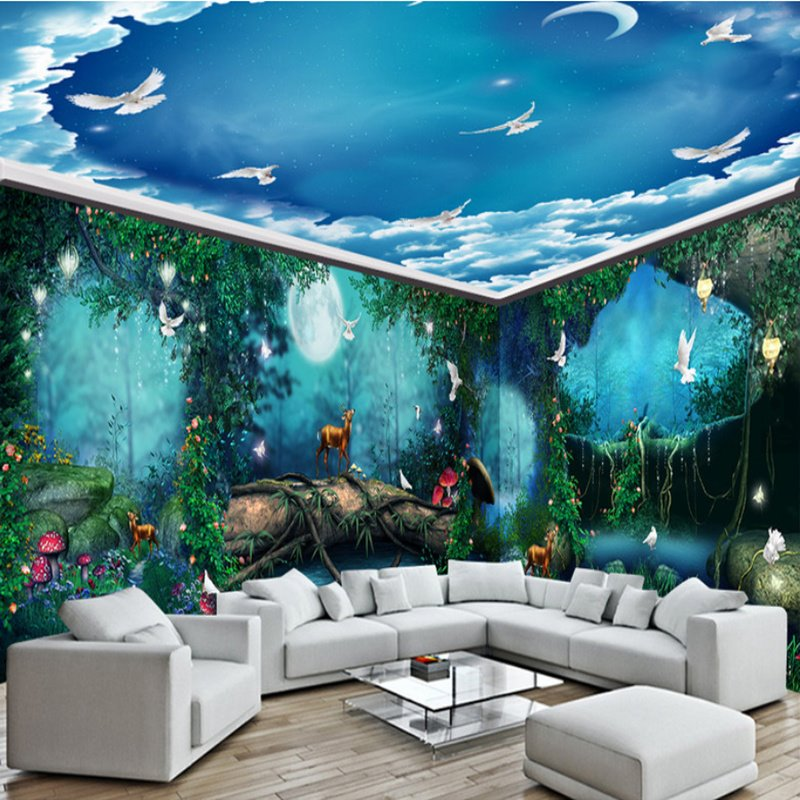 Blue green sky ocean 3d waterproof ceiling and wall murals for Mural 3d wallpaper