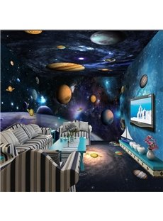 Dreamy Planets in the Starry Sky Prints Design Combined 3D Ceiling and Wall Murals