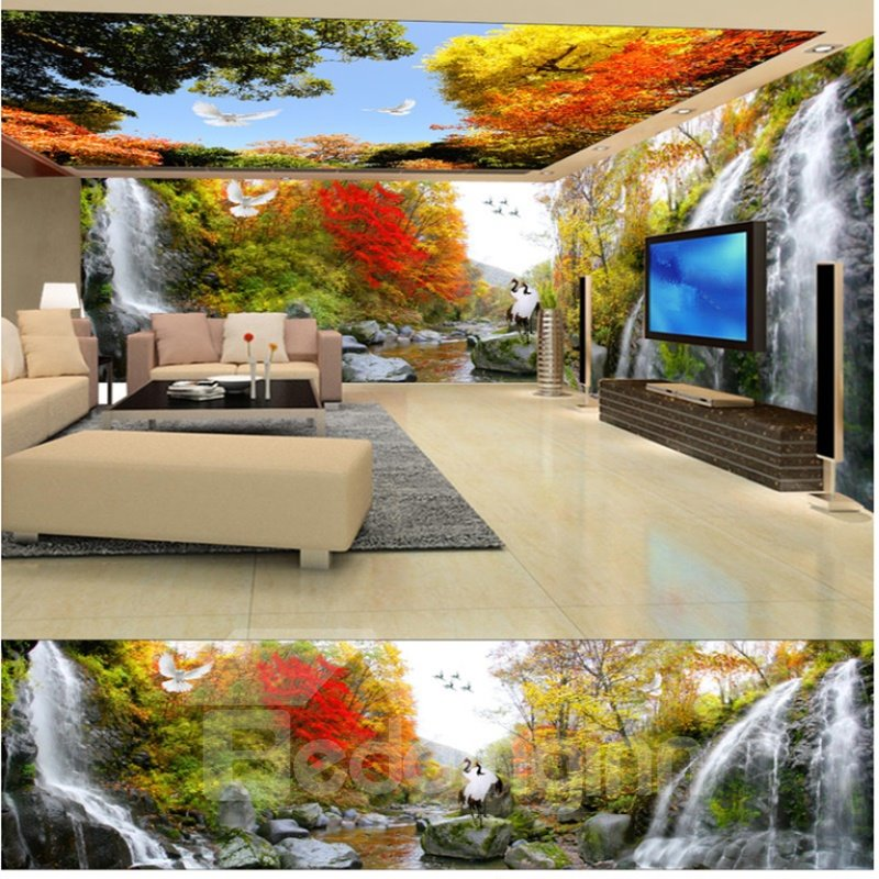 Amazing Autumn Waterfall in the Forest Scenery Pattern Waterproof 3D Ceiling and Wall Murals
