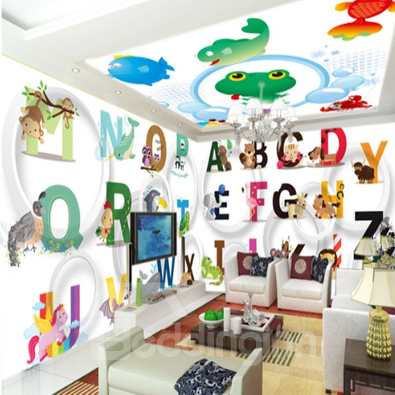 Cute Cartoon Animal and English Letters Pattern Combined 3D Ceiling and Wall Murals