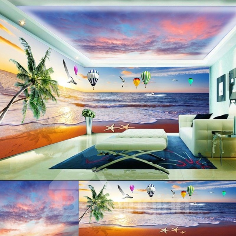 Beautiful Palm Tree by the Sea Scenery and Fire Balloon Pattern Combined 3D Ceiling and Wall Murals