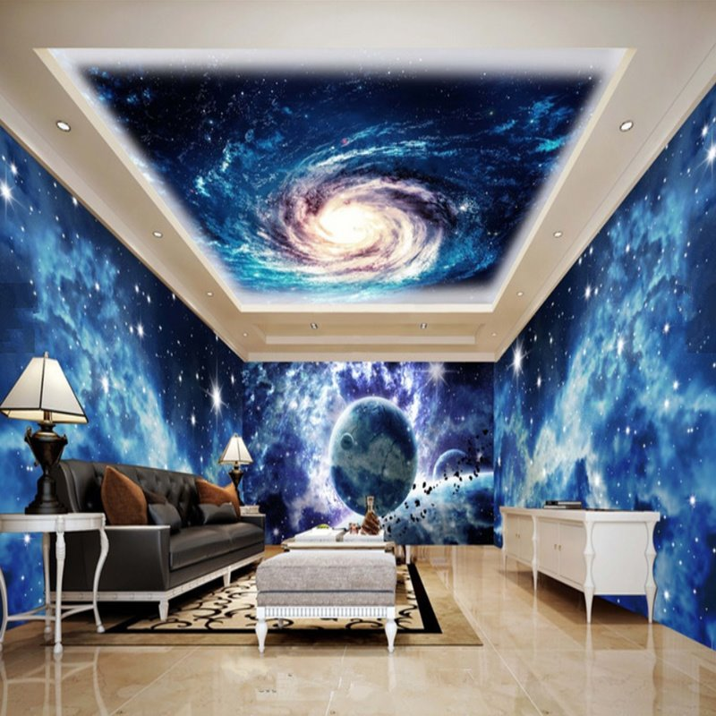 Blue Dreamy Starry Sky and Nebula Pattern Combined Waterproof 3D Ceiling and Wall Murals
