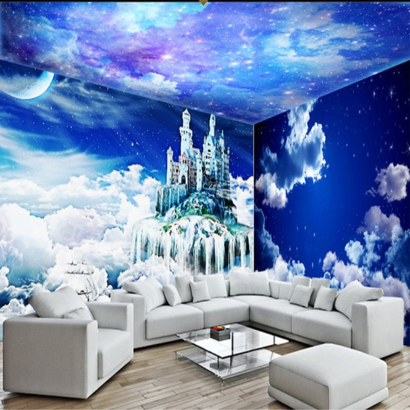 Dreamy White Clouds and Starry Sky Pattern Combined 3D Ceiling and Wall Murals