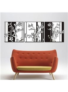 White and Black Flowers Pattern Design 3 Pieces Framed Wall Art Prints