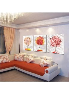 Red and Yellow Leaves in Trees 3-Piece Square Hanging Framed Wall Prints