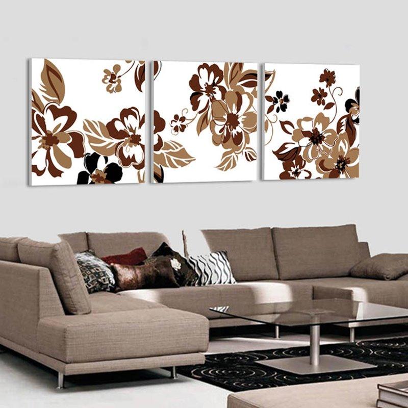 Elegant Decorative Flowers Pattern 3 Panels None Framed Wall Art Prints