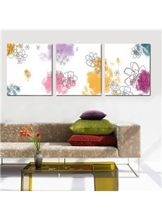 Excellent Flowers Pattern Design 3 Pieces None Framed Wall Art Prints