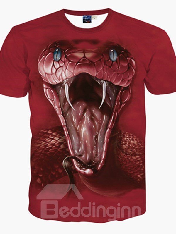 Amazing Round Neck Snake Pattern 3D Painted T-Shirt