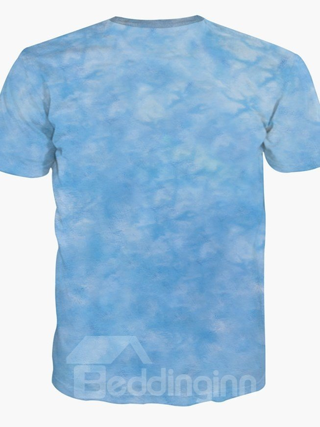 Blue Dolphin Wave Pattern Round Neck Short Sleeve Spandex 3D Painted T-Shirt