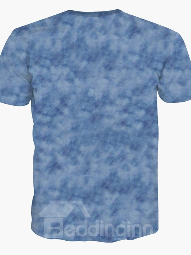 Eagle Face Spandex Comfortable Short Sleeve Round Neck 3D Painted T-Shirt