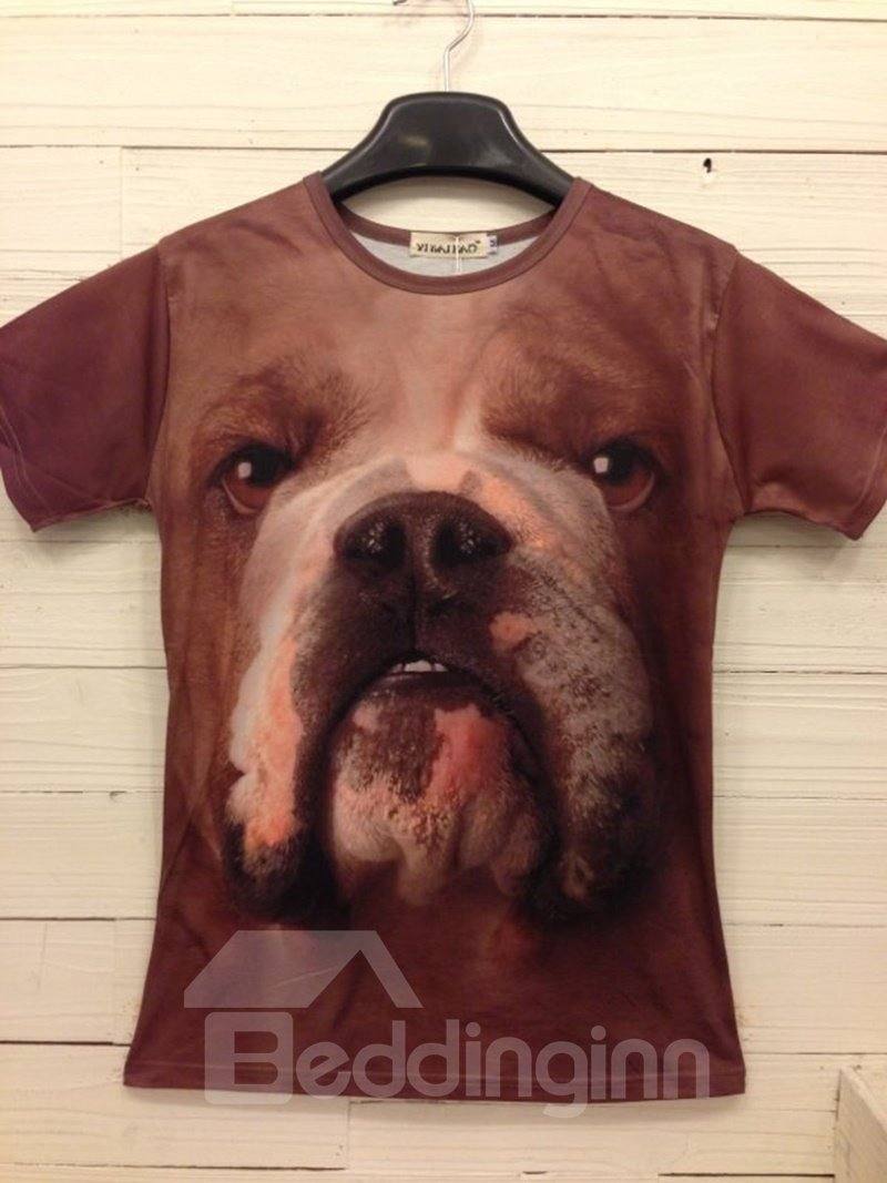 Round Neck Dog Face Pattern 3D Painted T-Shirt