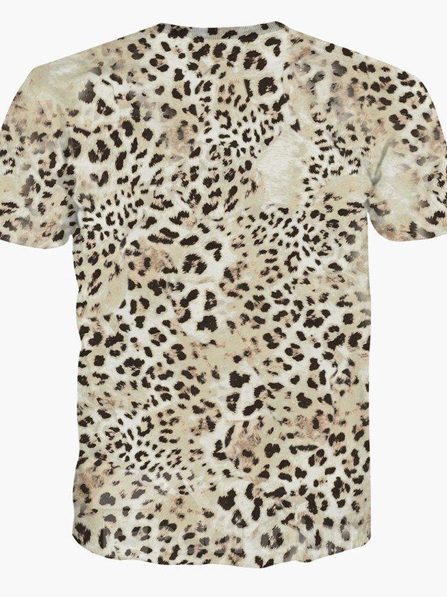 Wild Round Neck Leopard Print 3D Painted T-Shirt