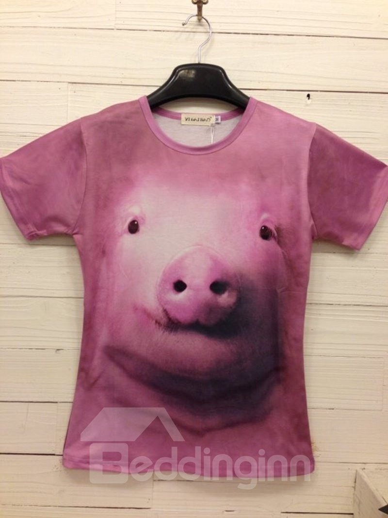 Bright Round Neck Pig Pattern 3D Painted T-Shirt