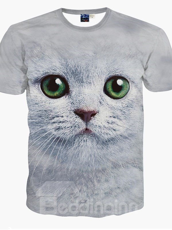 Charming Round Neck Green Eyes Cat Pattern 3D Painted T-Shirt