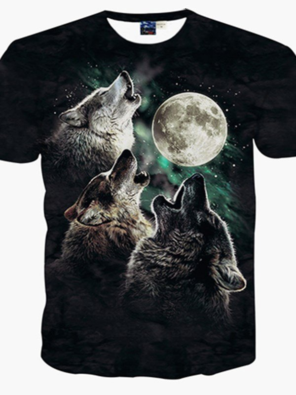 Cool Round Neck Wolf Moon Pattern 3D Painted T-Shirt
