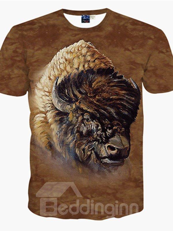 Wild Round Neck Buffalo Pattern 3D Painted T-Shirt