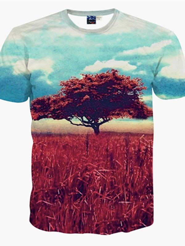 Unique Round Neck Tree in Prairie Pattern 3D Painted T-Shirt
