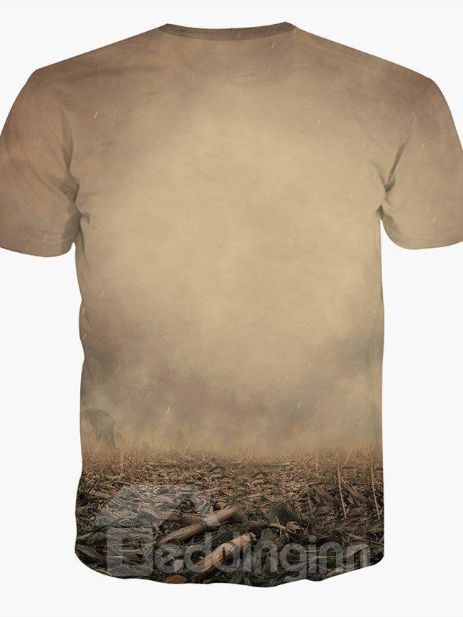 Creative Round Neck Tree Horn Deer Pattern 3D Painted T-Shirt
