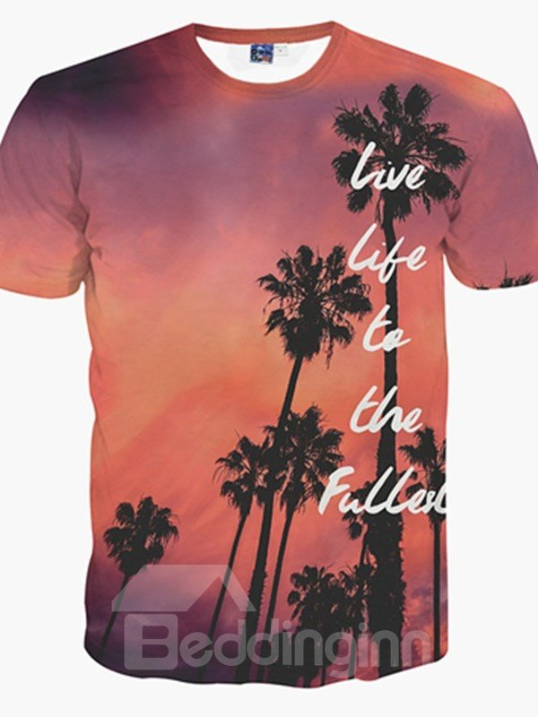 Elegant Round Neck Palm Tree Pattern 3D Painted T-Shirt