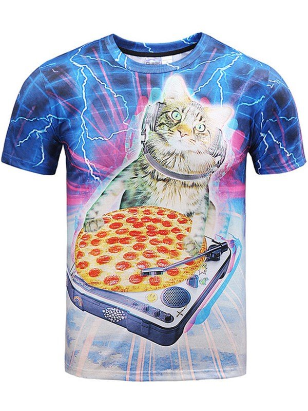 Funny Round Neck Cat and Pizza Pattern 3D Painted T-Shirt