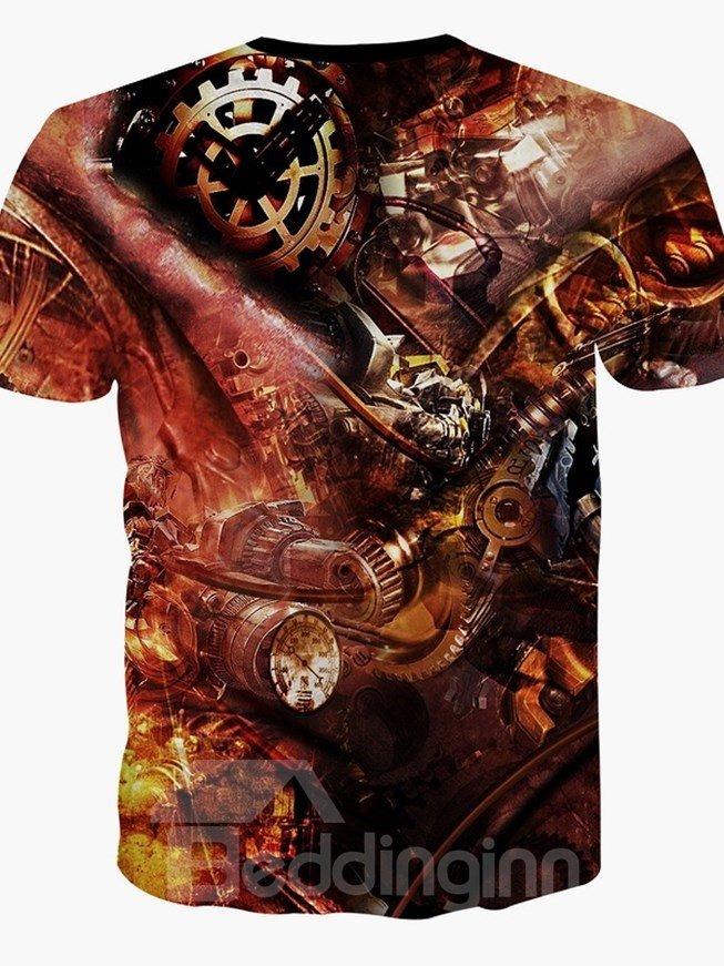 Popular Round Neck Digital Pattern 3D Painted T-Shirt