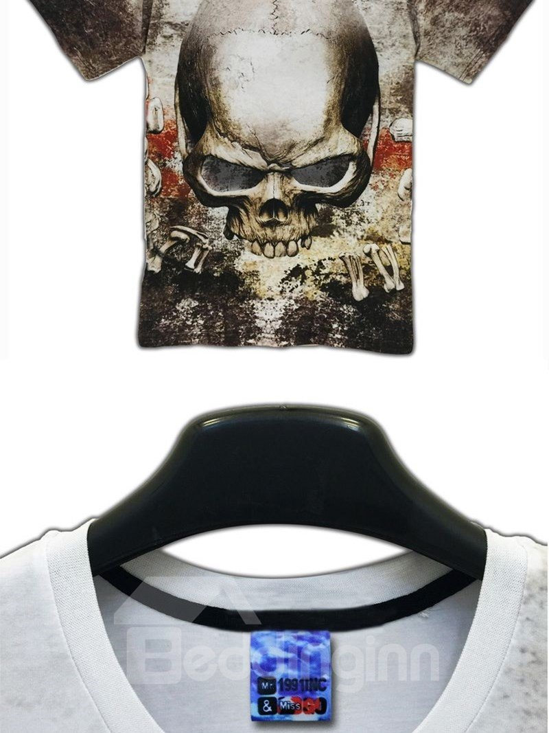 Cool Round Neck Skull Pattern 3D Painted T-Shirt