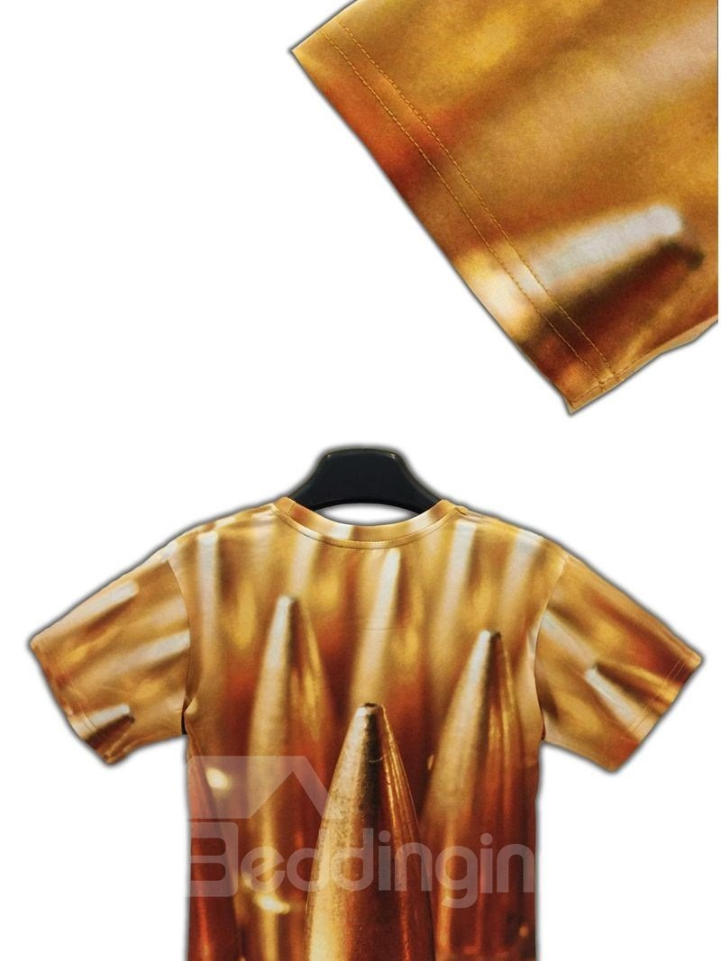 Shining Round Neck Bullet Pattern 3D Painted T-Shirt