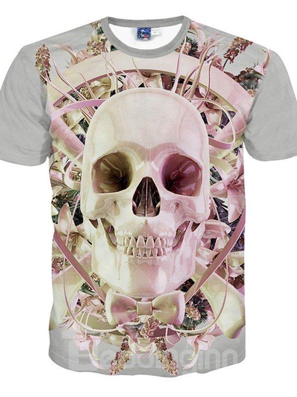 Amazing Round Neck Light Pink Skull Pattern 3D Painted T-Shirt