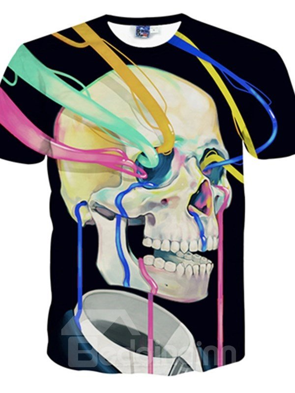 Stunning Round Neck Skull and Ribbon Pattern 3D Painted T-Shirt