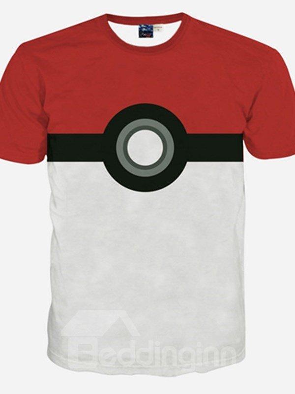 Fashion Round Neck Poke Ball Pattern 3D Painted T-Shirt