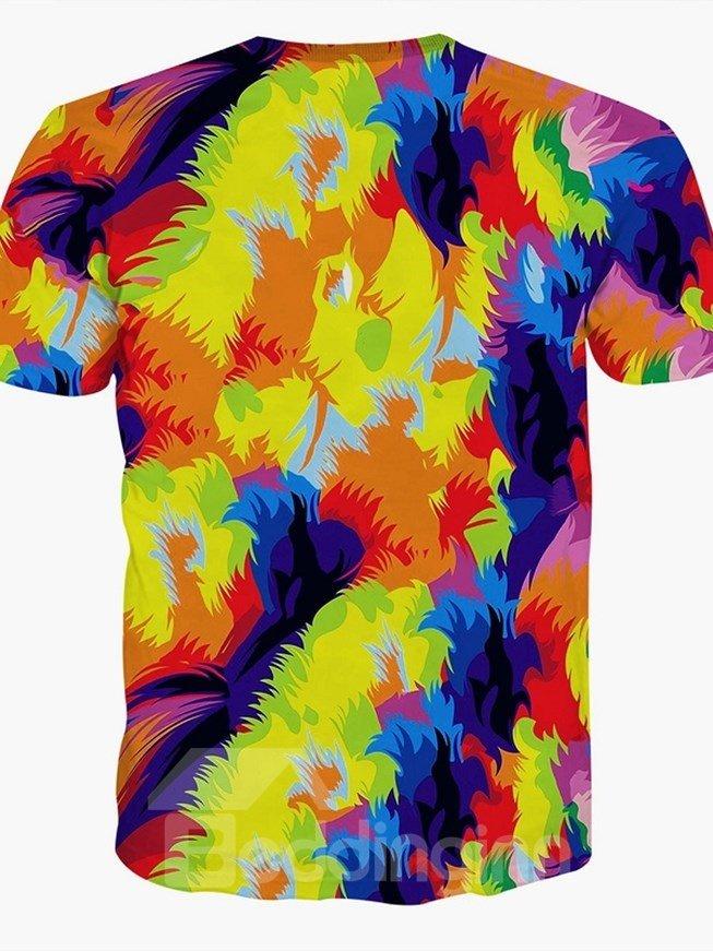 Colorful Round Neck Lion Face Pattern 3D Painted T-Shirt