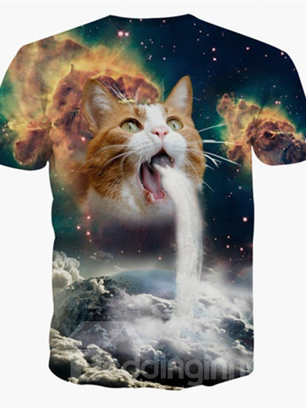 Charming Round Neck Waterfall Cat Pattern 3D Painted T-Shirt