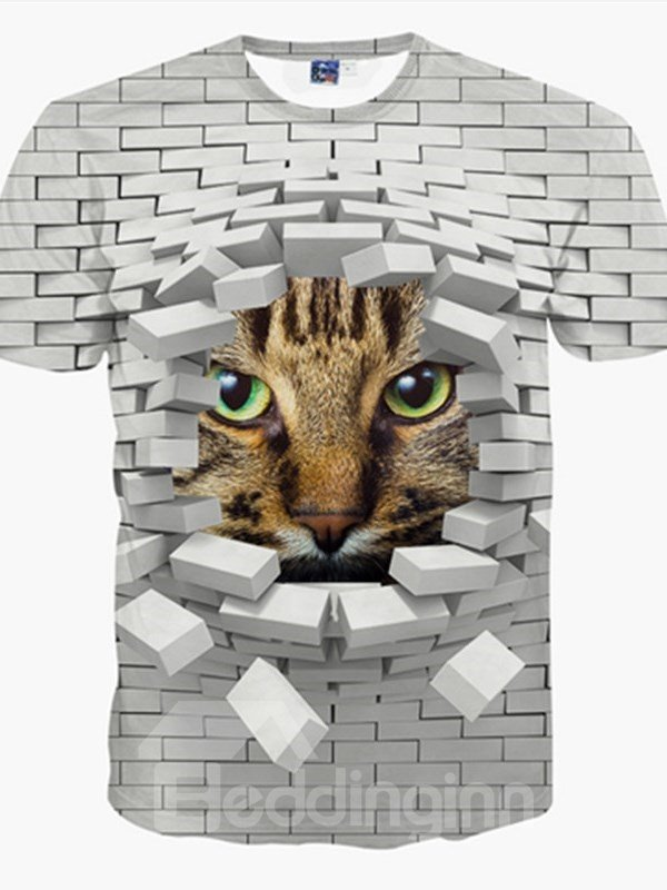 Mysterious Round Neck Wall Window Cat Face Pattern 3D Pattern T-Shirt