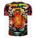 Amazing Round Neck Tiger Face Pattern 3D Painted T-Shirt