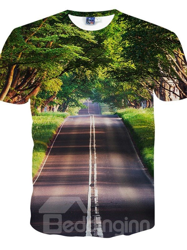 Fresh Round Neck Forest Road Pattern 3D Painted T-Shirt