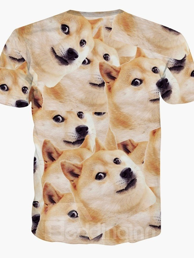 Funny Round Neck Big Dog Face Pattern 3D Painted T-Shirt