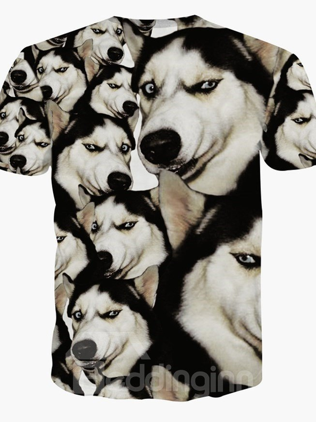 Hilarious Round Neck Dog Face Pattern 3D Painted T-Shirt