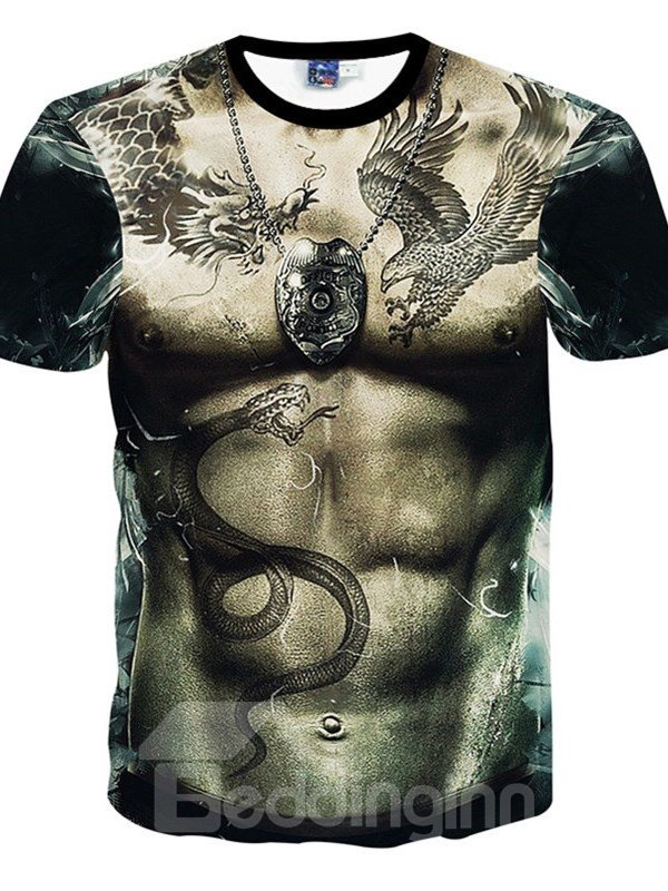 Lifelike Round Neck Muscle Pattern 3D Painted T-Shirt