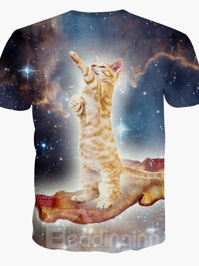 Fancy Round Neck Cat in Galaxy Pattern 3D Painted T-Shirt