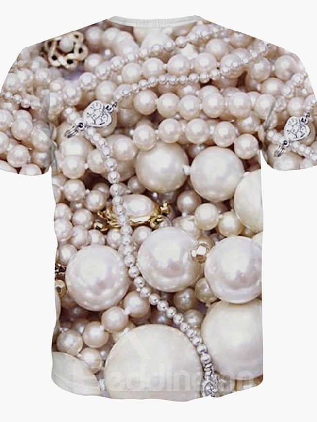 Luxury Round Neck Pearl Pattern 3D Painted T-Shirt