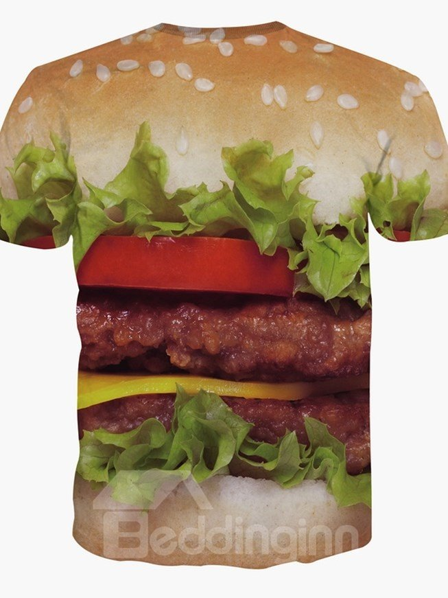 Bright Round Neck Hamburger Pattern 3D Painted T-Shirt