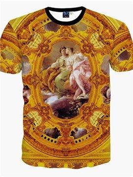 Sumptuous Round Neck Oil Painting Pattern 3D Painted T-Shirt
