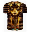 Sparking Round Neck Egyptian Pharaoh Mask Pattern 3D Painted T-Shirt