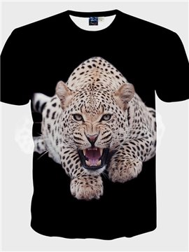 Concise Round Neck Leopard Pattern 3D Painted T-Shirt