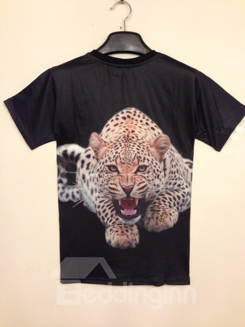 Concise Round Neck Leopard Print 3D Painted T-Shirt