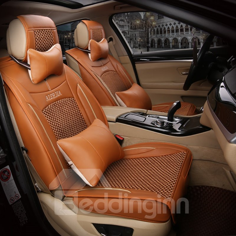 Genuine Leather with Ice Silk And Rayon Solid Car Seat Covers