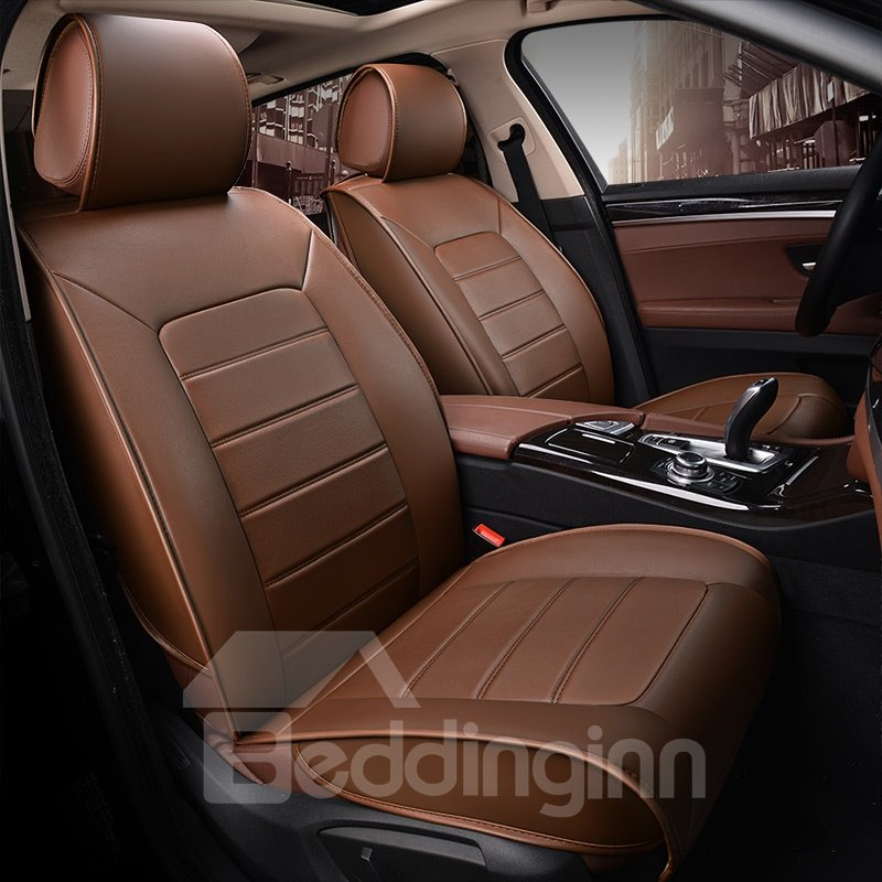Durable Casual Business Style Pure Color Leather Universal Car Seat Covers