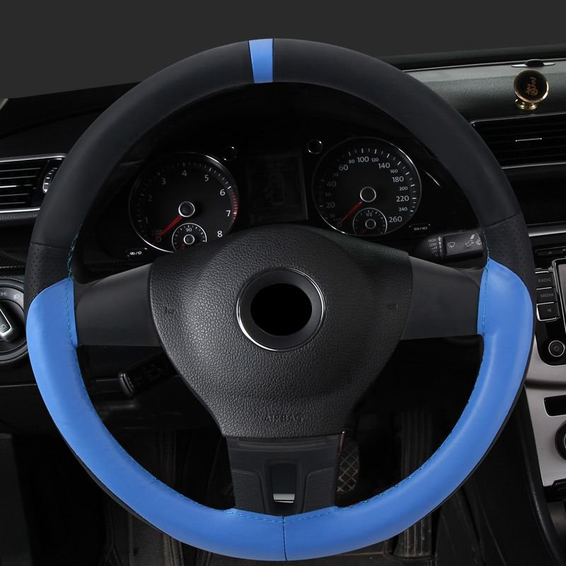 Textured Genuine Leather Hand-stitched Steering Wheel Cover