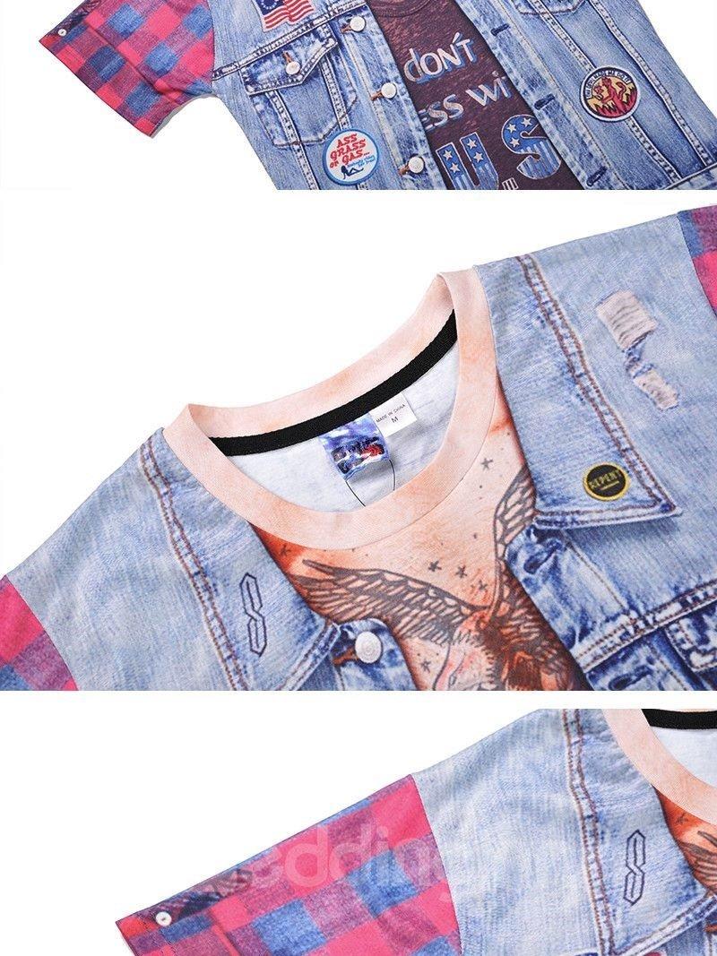Fashion Round Neck Weskit Pattern 3D Painted T-Shirt